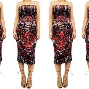 Topshop red print  strapless dress